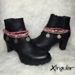 pulsera botas monedas trenza roja par