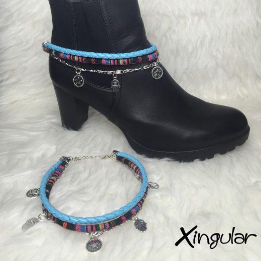 pulsera botas abalorios cyan y etnico rosa muestra