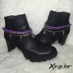 pulsera botas candado violeta y etnico violeta par