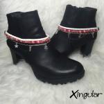 pulsera botas pescado blanco y etnico rojo par