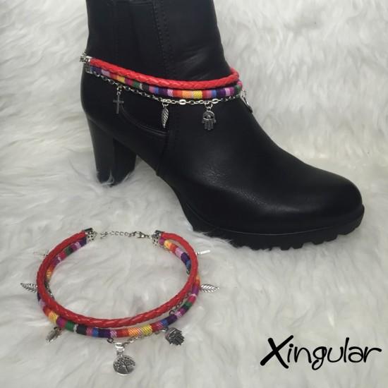 pulsera botas plumas y etnico tricolor muestra