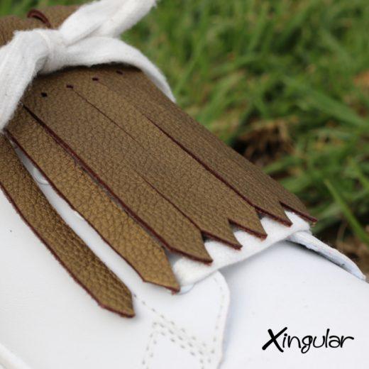flecos zapatillas bronce detalle