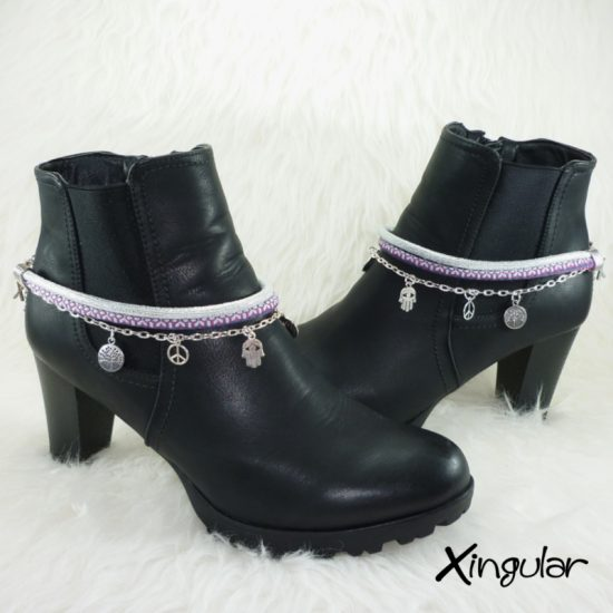 pulsera-botas-etnico-morado-oscuro-y-blanco-efecto-brillo-par