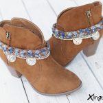 pulsera botas trenzada azul par