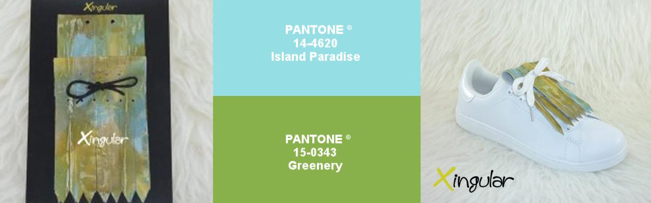 Island paradise pantone 14-4620 y Greenery pantone 15-0343 xingular