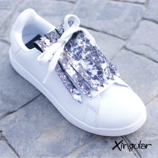 Flecos zapatillas burbujas plata