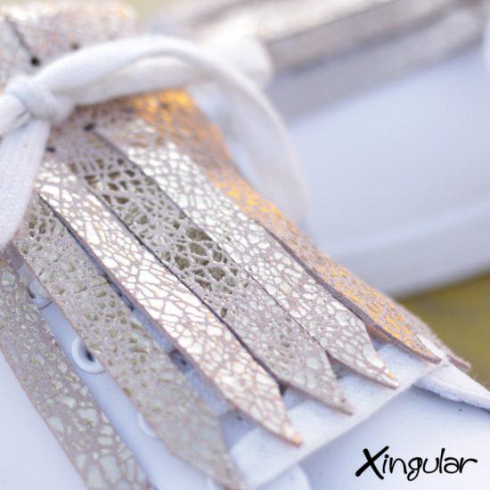 flecos zapatillas dorado cuarteado detalle