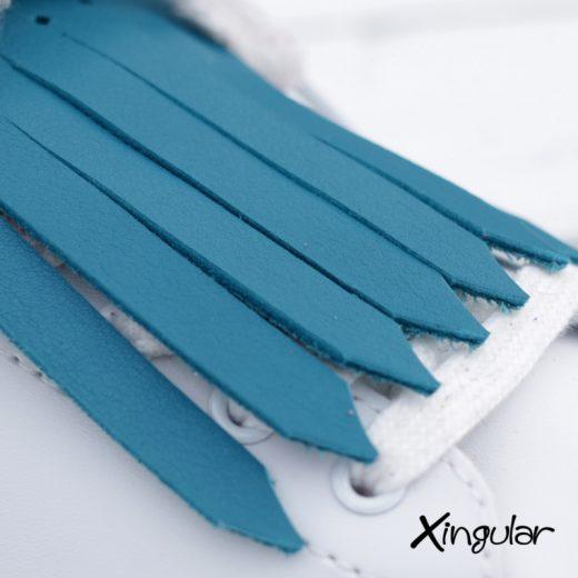 flecos zapatillas azul turquesa detalle