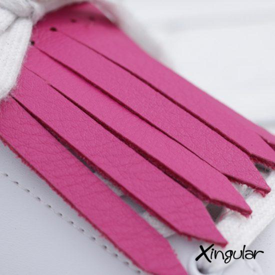 flecos zapatillas fucsia detalle