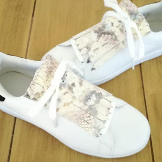 flecos zapatillas serpiente pastel par