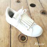 flecos zapatillas swarovski dorado