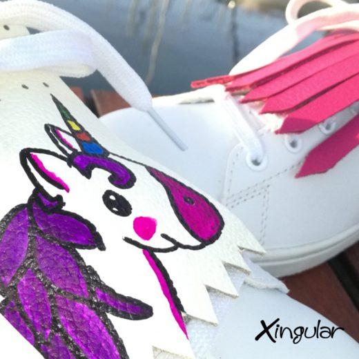 flecos zapatillas unicornio fucsia detalla