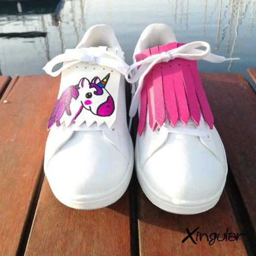 flecos zapatillas unicornio fucsia par