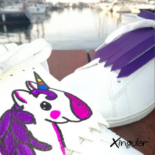 flecos zapatillas unicornio violeta detalle