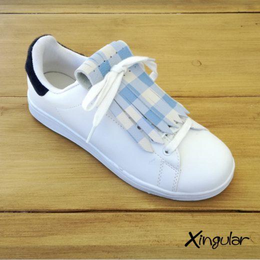 flecos zapatillas cuadros azules