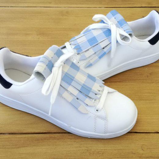 flecos zapatillas cuadros azules par