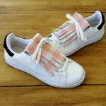 flecos zapatillas cuadros rosas par
