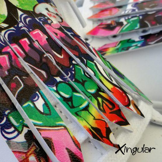 flecos zapatillas graffiti detalle