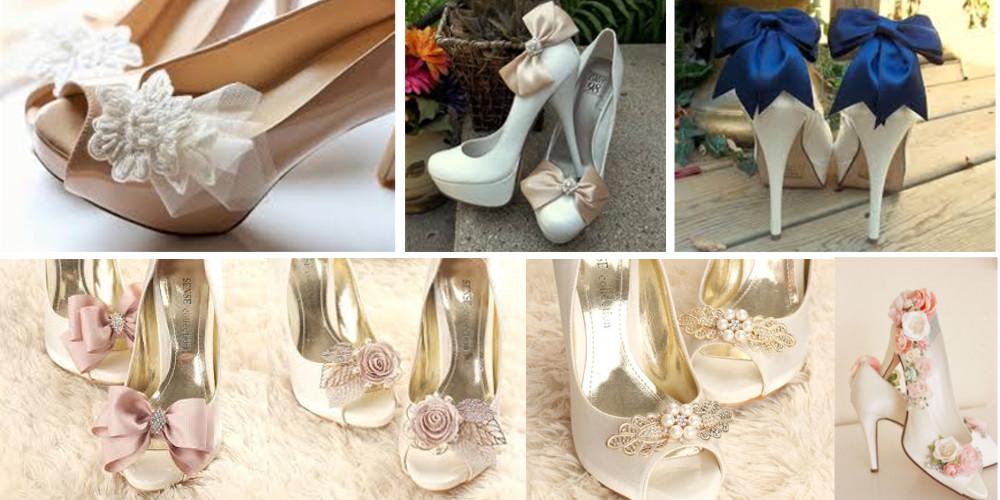 Adornos para zapatillas de novia - clips zapatos