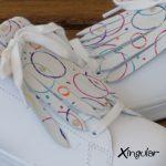 flecos zapatillas circulos pintados detalle
