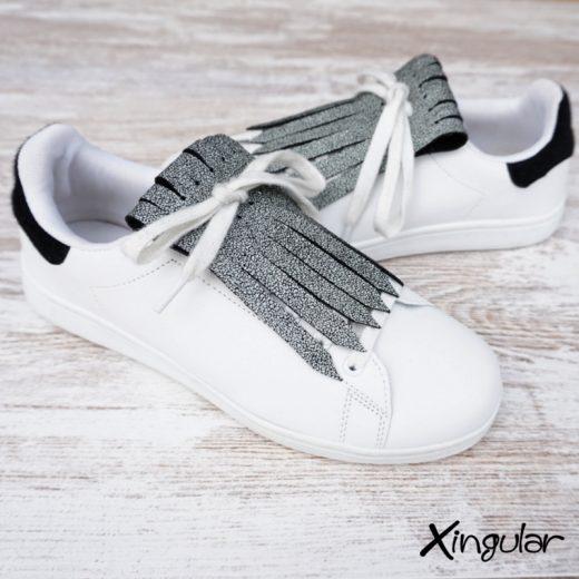 flecos zapatillas cuarteado blanco y negro par