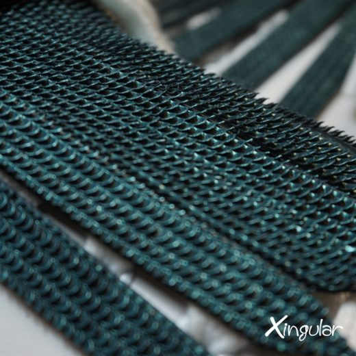 flecos zapatillas escamas de pez verde detalle