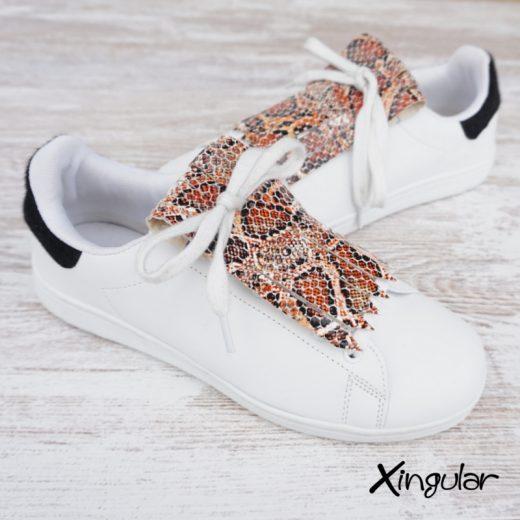 flecos zapatillas serpiente mostaza par 2