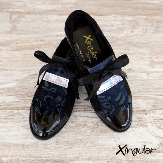 lengüetas zapatos azuladas par