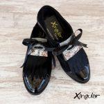 lengüetas zapatos negras par