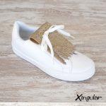 flecos zapatillas escamas doradas