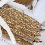 flecos zapatillas escamas doradas metalizadas detalle
