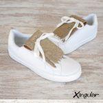 flecos zapatillas escamas doradas metalizadas par