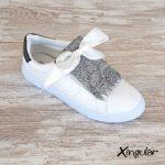 flecos zapatillas escamas plateadas metalizadas