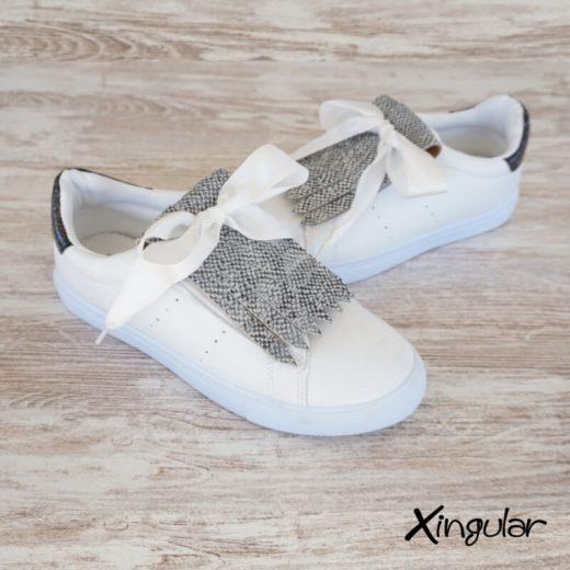 flecos zapatillas escamas plateadas metalizadas par