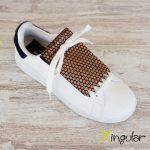 flecos zapatillas circulos bronce