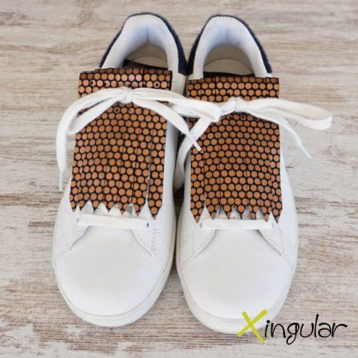 flecos zapatillas circulos bronce par 2