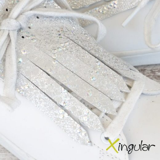 flecos zapatillas serpiente blanco metalizado detalle 2