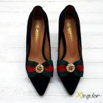 Broche para zapatos lazo verde y rojo